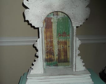 Shabby chic vintage wooden clock display case, ornate display case. farmhouse, shabby, french country
