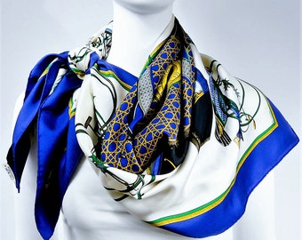 Authentic Vintage Hermes Silk Scarf Les Voitures a Transformation Blue