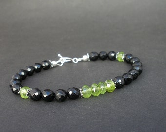 Black Tourmaline Faceted Round 6mm, Peridot Faceted Rondell 6mm, 925 Sterling Silver Toggle Clasp Bracelet