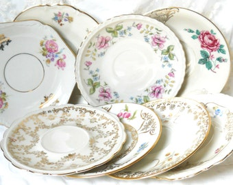 8 mismatched saucers mix of 8 saucers high tea bridal shower mismatched china saucers tea party floral saucers German porcelain