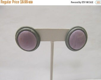 On Sale Retro Lavender and Grey Plastic Earrings Item K # 2536