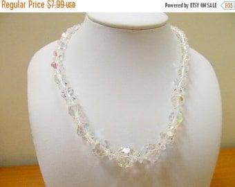 On Sale Vintage Graduated Round Aurora Borealis Crystal Necklace Item K # 2265