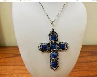 On Sale Vintage Blue Stone Cross Necklace Item K # 919
