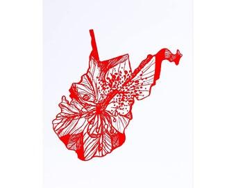 Letterpress West Virginia Rhododendron