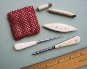 Antique  Sewing Tools - Beaded Pin Cushion Awl Stiletto Tatting Shuttle Crochet Hook + plus