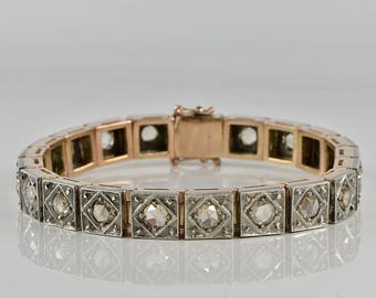 Superb Victorian 10.00 Ct Dutch rose cut diamond by spread rare riviere bracelet