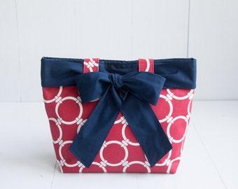 Chain Link Handbag with Navy Blue Bow-Red Canvas Handbag with Chain Print-Medium Purse-Premier Prints Linked