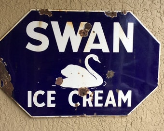 Vintage Double Sided Porcelain Swan Ice Cream Sign, Swan Ice Cream Saginaw Michigan Advertising Sign