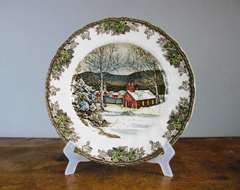 vintage dinner plate, decorative plates, Johnson Brothers, the friendly village, christmas tableware, the school house