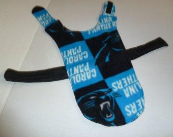 "XXS XLong - Carolina Panthers Fleece Dog Coat in Blue, Black, and White (Extra Extra Small - Extra Long 12.5"")"