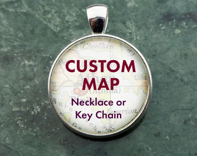 CUSTOM Map Pendant Necklace OR Key Chain, Personalized Map Jewelry, Atlas, Kette, Medaillon, Vintage, Cabochon, Glass, 25mm Durchmesser
