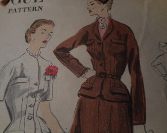 Vintage 1950's Vogue 7662 Suit Dress Sewing Pattern, Size 12 Bust 32