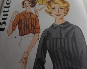 Vintage 1960's Butterick 2546 Blouse Sewing Pattern, Size 12 Bust 32