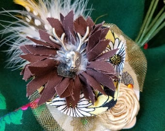 Enchanted Deer Hat Clip With Feathers and Charms