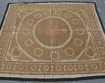 4.95' x 5.35' Suzani Vintage Suzani Old Embroidery Suzani Wall Hanging Uzbek Suzani Table Cover Ethnic Suzani FAST SHIPMENT with ups - 10969