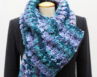 Sale 25% Off - Crochet Extra Long Lacy Winter Scarf in Blue, Turquoise and Purple - Ready to Ship