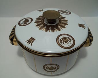 Vintage Mid Century Modern Georges Briard Enamel Pot with Lid Gold and Black