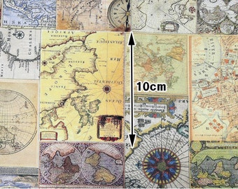 Vintage Map Cotton Fabric, Digital Printing - Fabric By the Yard 96218