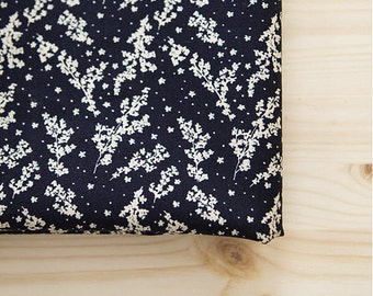 White Flowers Cotton Fabric, Floral Cotton Fabric, Navy Cotton Fabric - By the Yard V03 5596