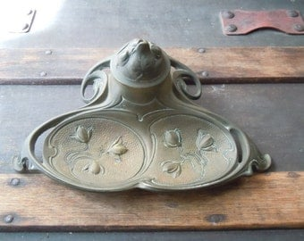 Antique Solid Brass Art Deco Ink Well