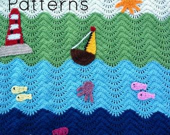 Crochet baby blanket pattern, crochet ripple blanket pattern, baby blanket pattern, crochet afghan, waterworld baby blanket, Pattern no. 40