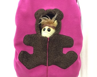 Bear on deep Fuchsia  pink ... Baby Car Seat Cover, Infant Car Seat Cover, Baby Carseat Cover, Car Seat Cover