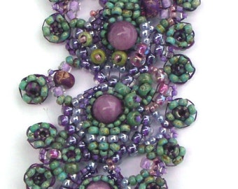 Purple with Green Accents Lacy Beadwoven Cuff Bracelet/w Toggle Clasp