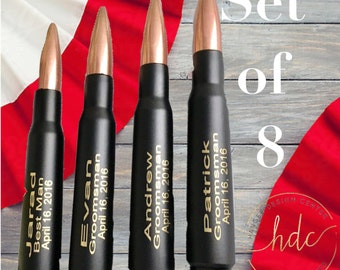 Groomsman Gifts/SET OF EIGHT Engraved 50 Caliber Bullet Bottle Openers/Personalized Gift/Gifts for Dad/Father of the Bride Gift/Best Man