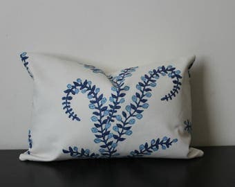 Decorative Pillow Prasana in Bluebell Cover,Lumbar Pillow Cover,Toss Pillow,Throw Pillow made from Duralee John Robshaw, 18x18, 20x20, 22x22