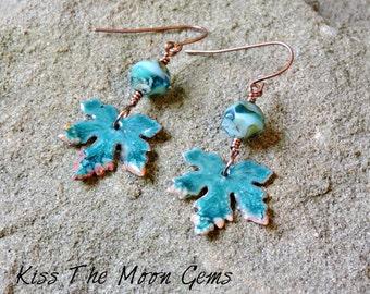 Enameled Maple Leaf Earrings - Blue - Czech Glass - Dangle Earrings