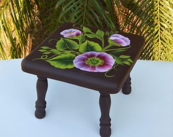 Shabby Chic, Hand painted, Handpainted, Wood Foot Stool, Roses, Floral, Acrylic