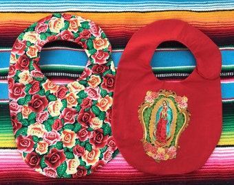 2Pack- Roses and Virgin Mary Bib Set,