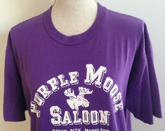 RARE Vintage Purple Moose Saloon Ocean City Maryland 1995 Tshirt