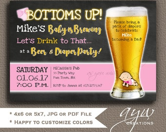 Diaper Shower Invitations for Man Shower Bottoms Up Beer and Diaper Party Invites Girl Invitations Beer and Diaper Party Man Shower