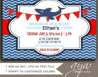 Shark Birthday Invitation Boy Shark Party Invitation Shark Invitations Shark Printable Invites Boy Birthday Invitations Water Tween ANY AGE