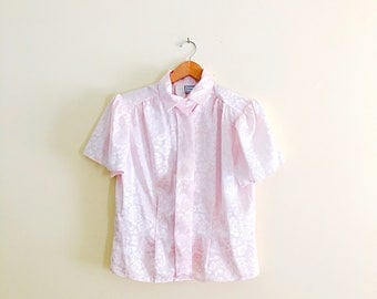 Vintage 80s Icy Pink Triple Point Collar Blouse // Retro Floral Secretary Shirt // 30s 40s Style