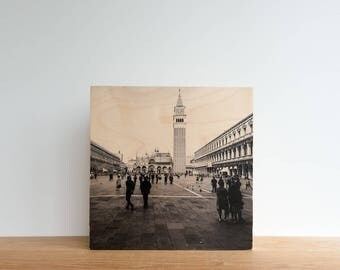 Italian Holiday, 'Day in Venice #2' Limited Edition, Image Transfer on Wood Panel by Patrick Lajoie, photo art block, italy photography