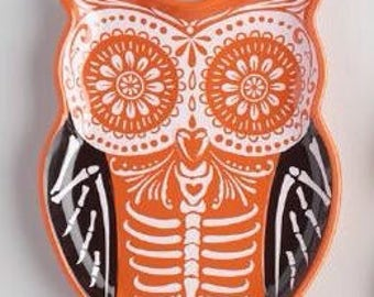 Day of the Dead Owl Earthenwear Plate FREE SHIPPING