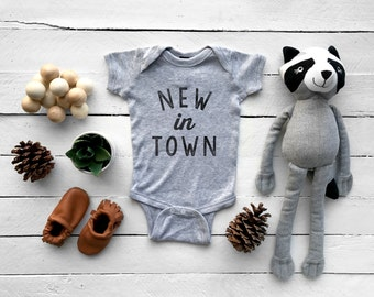 New In Town Typographic Baby Bodysuit • Unique Funny Gray Baby Outfit for New Baby, Niece, Nephew • FREE SHIPPING