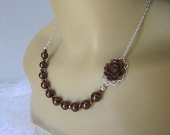 Chocolate Brown Flower Bridesmaid Necklace Truffle Brown Wedding Bridal Gift