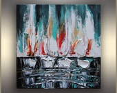 Teal Blue Modern Abstract Sailboat Painting, Art Painting, Acrylic Painting, Seascape Art, Seascape Painting, Dad Gift, Father Gift