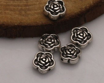 16 Rose Beads Atq Silver Tone Spacer Beads for Thread or Wire Floral Beads in 2 Sizes