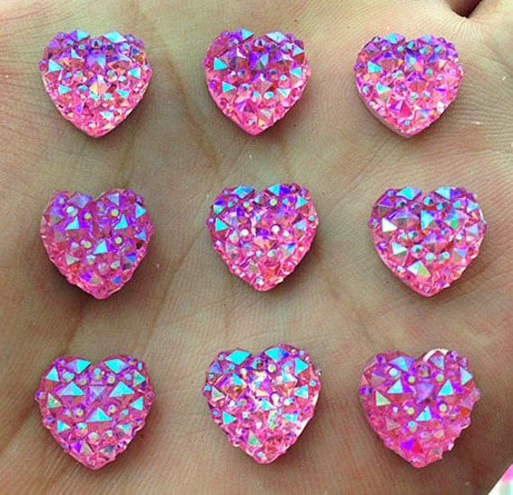 Light Pink AB Flat Back Heart Resin Rhinestones Embellishment Gems