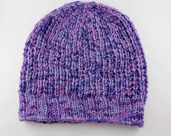 READY TO SHIP - Favorite Beanie! - Purple Crush Ribbed Slouchy Knit Beanie