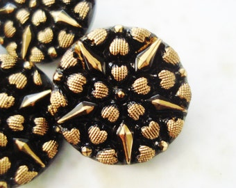 Black and Gold Starburst Buttons - 5 Gold Painted Heart Glass Buttons - Gold and Black Czech Buttons - Fancy Gold and Black Glass Buttons