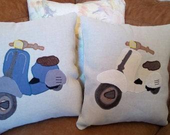 "Vespa Moped Cushion Pillow Blue Cream Bus Caravan 18""x18"" 45x45cm Bye Brytshi"