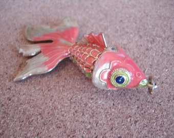 Vintage Chinese Articulated Cloisonne Fish Pendant Charm Green Enamel Articulated Koi Gold Tone Metal