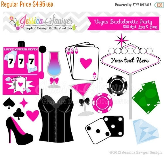 80% OFF - INSTANT DOWNLOAD,  Bachelorette clip art - vegas clip art - commercial use -  - personal use - scrapbook - invitation - party