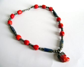 Tribal Coral Necklace.Tibet Necklace.