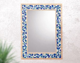 Decorative Mosaic Wall Mirror -- Blue and Copper Mirror, Beach House Decor